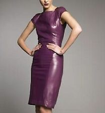 Women Dress Purple Real Leather Evening Cocktail Ladies Dress WD036