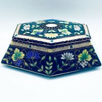 "Vtg Asian Enameled Hand Painted Porcelain Lidded Dresser Box Trinket Dish 6""L"
