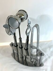 Chrome Steel Bar Tools 4 pc Set with Stand