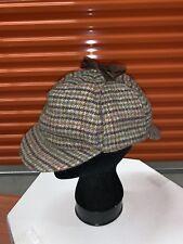 Vintage BARBOUR Tweed Bede Trapper Hunting Cap Hat Houndstooth Plaid  Size 7 5/8