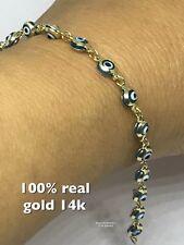 """GOLD Good luck evil eye Bracelet 14k blue white Kabbalah 7.25"""" 4.19mm 2.6g"""