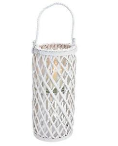 Windlicht Laterne Weide weiß Glaseinsatz Kordelgriff 18x40x18cm Deko Terrasse