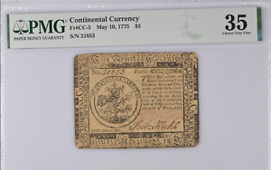 Continental Currency US CC-5 May 10, 1775 $5 PMG 35