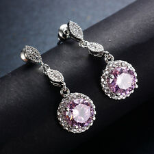 Round Cut Pink Sapphire Drop/Dangle Earrings White Gold Filled Lady's Jewelry