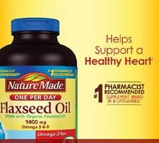 Nature Made Organic Flaxseed Oil 1400 mg 300 Liquid Softgels Omega 3-6-9