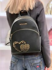 MICHAEL KORS ABBEY MEDIUM BACKPACK LEATHER STUDDED SAFFIANO BLACK