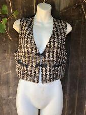 Brown Black & White Tweed Style Waistcoat - Size 8