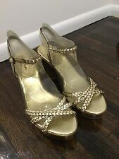 New Cole Haan Size 9 Gold Leather Braided Strappy Wedge Air Technology