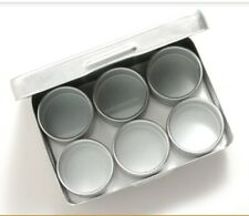 """Aluminum Storage Tin 2×4"""" w/ 6 Mini Tins Gold Nuggets Beads Container Craft Pack"""