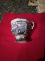 Antique Staffordshire Blue Transfer Ware Pedistal cup inside outside marked