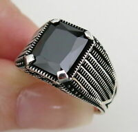Turkish 925 Sterling Silver with black onyx stone mens man ring ALL SİZE us