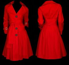 Oversized Loose FIT Belted Skirted Trench Coat YJ072  plus  1x (SZ 16-18) red