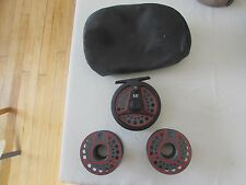 A1 vintage leeda LC80 trout fly fishing reel  + 2 spool 3.+ 3/8ths . + pouch..