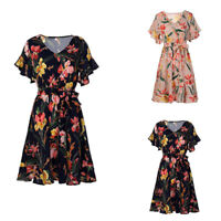 Women Chiffon V Neck Short Sleeve Mini Dress Girl Floral Printed Summer Dress