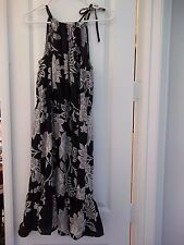 ON SALE! Women's NWT JOE FRESH JCPenney Sun Halter Dress Black Floral, Size M
