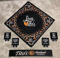 Tito's Handmade Vodka Bar Swag Gift Set Rail Mat, Bandanas & Koozies