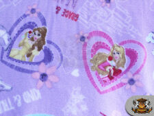 "Fleece Printed Anti Pill Winter Fabric Princess Hearts Lavender / 58"" W /  N-584"
