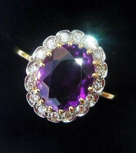 Large 18ct Gold 2.00ct Amethyst & Diamond Halo Ring, Size Q