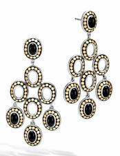 NEW $1695 John Hardy Dot Black Onyx 18K Gold Silver Chandelier Earrings