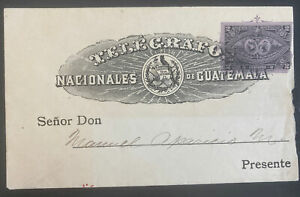 1895 Guatemala Postal Stationery National Telegraph Cover