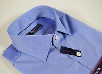 Camicia Azzurra Ingram Cotone No Stiro vestibilità Slim Fit collo mezzo francese