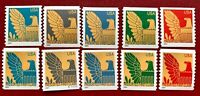 2004 US Stamps SC#3844-3853 America Eagle Single Set of 10 with Plate# CV:$10