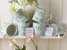 Set of 6 KATIE ALICE Cottage Flower GREEN FLORAL Shabby Chic MUGS Vintage Style