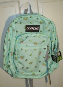 """NWT Trans by Jansport 17"""" Avocado Party Design Light Green Backpack"""