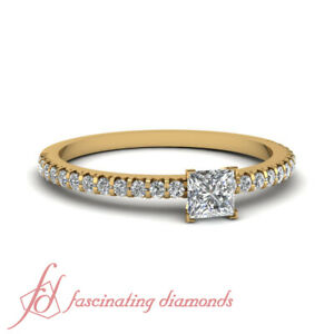 Yellow Gold Princess Cut French Prong Simple Diamond Engagement Ring 3/4 Carat