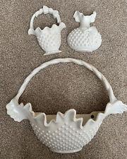 Vintage Burwood Prods #2673 White Hobnail Wall Planters Basket Vase - Set Of 3