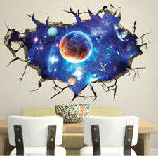 3D Outer Space Earth Moon Planet Cracked Boy Room Wall Stickers Decals Art Decor