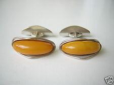 Antike Natur Bernstein Manschetten Fischland Auge Flossen 835 Silber 8,8 g Amber