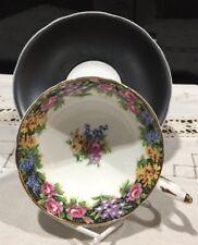 Rare Paragon Old English Garden Cabinet Tea Cup & Black Saucer Floral