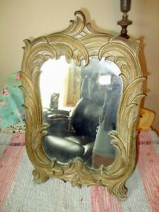 ANTIQUE WOOD SOROCO STAND UP EASEL OR HANGING GOLD MIRROR ART NOUVEAU
