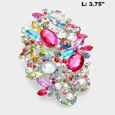"3.75"" Long Silver Tone Multi Color Rhinestone Brooch Pin"