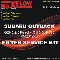 Maxflow® Suit Subaru Outback GEN5 2.5 Petrol 4 Cyl 2.5L FB25 Filter Service Kit