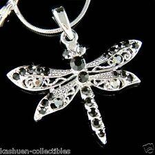 w Swarovski Crystal Bridal Wedding BLACK DRAGONFLY Charm Pendant Chain Necklace