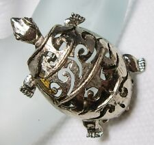 Rare~Vintage~Silvertone TURTLE Dress/Fur Clip & Brooch