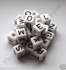 ca 250 weiße Buchstabenwürfel 10 mm Buchstabenperlen Buchstaben Perlen Würfel