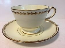 Wedgwood Colonial Teacup and Saucer - Gold Laurel Leaf