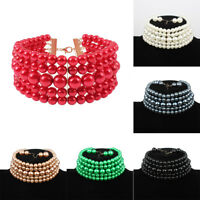 Womens Pearl Beads Necklace Bib Statement Choker Collar Chunky Hook Earring Set