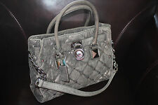 MICHAEL KORS HAMILTON STUD QUILT EAST WEST SATCHEL NICKEL METALLIC LEATHER $389