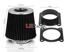 BLACK Cone Dry Filter + AIR INTAKE MAF Adapter Kit For 03-06 350Z G35 Altima V6