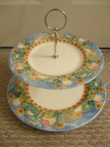 TESCO SUNNY DAYS PATTERN 2 TIER CAKE STAND