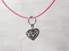 📿Hot Pink Waxen Cord 18 Inch Necklace with Tibetan Silver Filigree HeartCharm