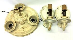 Antique Painted Brass Electric Porcelain Socket Sconces Ceiling Light Set Parts