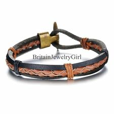 Multilayer Tribe Braided Mens Brown Leather Cuff Bracelet Mens Boys Gift