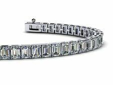 20ct Emerald Cut Diamond  14K White Gold Over Party Wear Tennis Bracelet