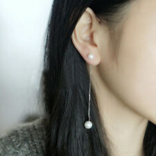 Sterling Silver White Pearl Chain Thread Drop Fashion Earrings Free Shipping