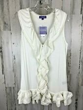 Vivienne Tam Tuscan Ivory Women's Ruffle Tank Size M NWT
